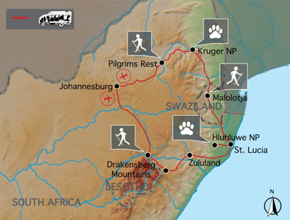 Sunway Safaris Walking South Africa Map